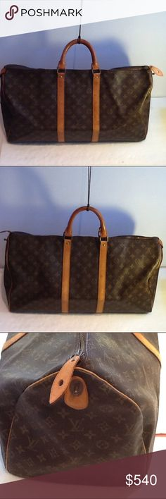 Authentic Louis Vuitton Monogram Keepall 60 Bag. The straps and leather showed signs of used and had done light stains. The bag was made in France with a date code SD 822. The dimension is 20, 11 and 10. The canvas and inside linen are good. Louis Vuitton Bags Travel Bags