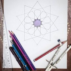 Please don't tell my Arabic teacher that I got distracted by geometry when I should have been doing my homework. Thanks.  It's just that I'm quite excited about the next geometry session. It's only Tuesday...! #Islamicgeometry #geometry #Islamicart #compassandruler