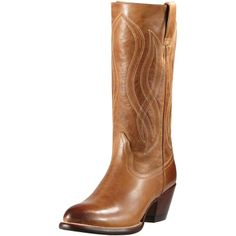 The Saratoga is a western boot with authentic features and dressed-up attributes. Handcrafted from full-grain leather and leather-lined. A traditional western stitch pattern adorns the shaft. The Saratoga features an almond toe, smooth upper and leawood wrapped heel with a natural stain finish. Ariat's ATS Footbed Technology delivers long-lasting comfort, support and stability. A smooth rubber outsole is the finishing touch on this best-dressed boot for town and country.