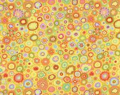 """Patchworkstoff+\""""Paperweight\""""+mit+unregelmäßigen+Muster-Tupfen,+gelb-aprikot"""