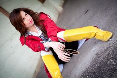 :: yellow rain boots :: red coat