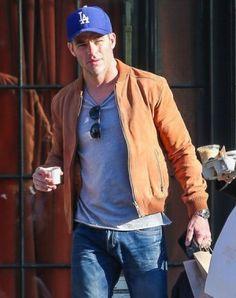 Chris Pine Plays It Cool In Topman Suede Bomber Jacket