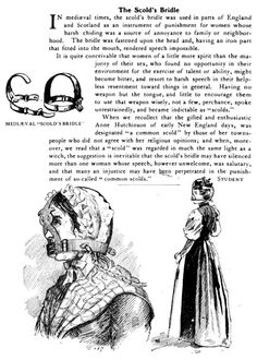 Muzzles for Women - 16th to 19th centuries. Used for some women thought to be incessant naggers or gossipers.