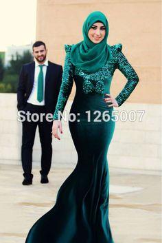 О длинные рукава блестящие Gitter блестки с бантом русалка зеленый бархат дубай арабский мусульманские вечерние платья формальные