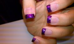 Purple glitter nail tips.