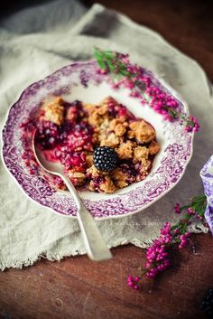 blackberry, apple marzipan crumble