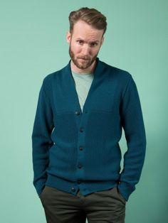 WOLFEN cardigan for men 100% merino wool made in Germany