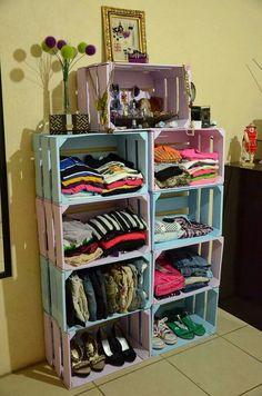 Diy home decor Diy Dorm Decor, Dorm Decorations, Bedroom Decor, Home Decor, Crate Furniture, Diy Pallet Furniture, Wooden Closet, Crate Shelves, Shoe Storage Cabinet
