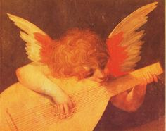 """Musician Angel by Giovanni Battista di Jacopo known as Rosso Fiorentino (meaning """"red Florentine"""" in Italian) was an Italian Mannerist painter, in oil and fresco.  Born in Florence with the red hair that gave him his nickname, Rosso first trained in the studio of Andrea del Sarto alongside his contemporary, Pontormo. In late 1523, Rosso moved to Rome, where he was exposed to the works of Michelangelo, Raphael, and other Renaissance artists, resulting in the realignment of his artistic style."""