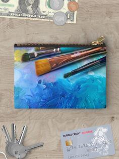 Zip Mini Wallet Surrealistic,Old Clock and Rope,Canvas Pencil Pen Case