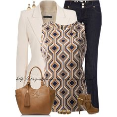 """MK Geometric Print Blouse"" by stay-at-home-mom on Polyvore"