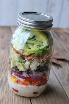 Southwest Ranch Chicken Mason Jar Salad 363 calories. Delicious make-ahead salad…