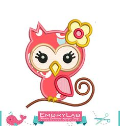 Machine Embroidery Applique Design Mini Cute girl owl  by EmbryLab
