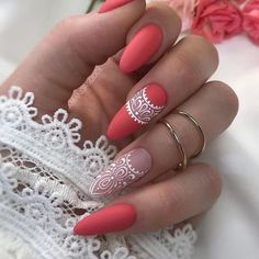 Pretty & Easy Gel Nail Designs to Copy in Trendy Gel Nails Designs Inspirations; The post Gel Nails Designs Inspirations appeared first on Trendy. Lace Nails, Pink Nails, My Nails, Lace Nail Art, Coral Nail Art, Henna Nail Art, Henna Nails, Glow Nails, Almond Gel Nails