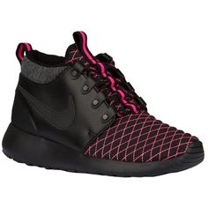 NEW!!  Blinged Girls' / Women's -Nike Roshe One Mid Winter-  Black / Pink