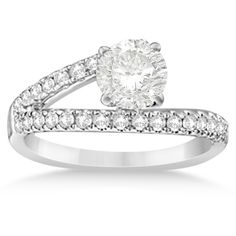 Allurez Bypass Diamond Engagement Ring 14k White Gold 0.33ct (1,255 CAD) ❤ liked on Polyvore featuring jewelry, rings, white, round diamond ring, stud ring, diamond jewelry, clear nose ring et round cut diamond engagement rings
