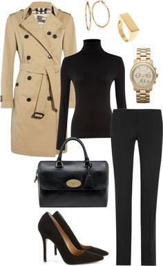 Mc - guardapolvos camel y gabardina con jersey negro y pantalón recto / entallado