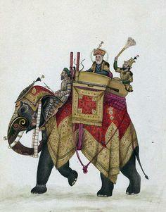 Akbar II and his son behind him on an elephant
