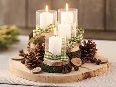 Kaars decoratie ... met natuurlijke materalen.....( marjolein 131 )