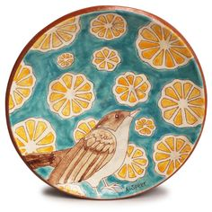 Wall Plate - Blue, White, Orange by Adrienne Speer - The Clay Studio