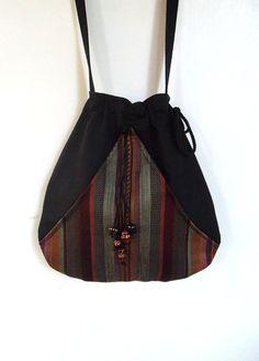 Boho Stripe borsa tasca nera Boho Bag con coulisse borsa