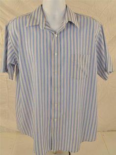 Stafford Wrinkle Free Men's Size 17 Short Sleeve Blue & White Strip Dress Shirt