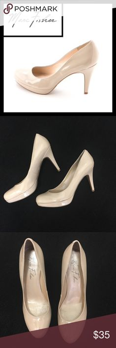 """Marc Fisher tan leather round toe platform pumps EUC, worn once to my best friends wedding with a blue dress  - couple of tiny dings (see pics)  from breaking a sweat on the dance floor but overall in perfect used condition. 4"""" heel Marc Fisher Shoes Heels"""