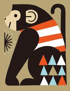 サル - Buy this stock illustration and explore similar illustrations at Adobe Stock Retro Illustration, Graphic Design Illustration, Animal Doodles, Geometric Graphic, Kids Calendar, Animal Posters, Naive Art, Fish Art, Animal Design