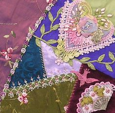 I ❤ crazy quilting & ribbon embroidery . . . ~By Nicki Lee (From Pinyon Creek Stitchin')