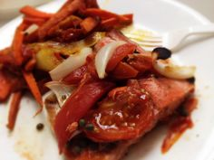 Wild Salmon With Tomato, Capers and Onion, And Carrots and Onions: 12/17/13