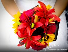 red rose and tiger lily wedding bouquet for fall