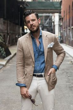 The-Suit-Man: suits, mens fashion and summer style 1 летний мужской стиль, Mens Fashion Blazer, Mens Fashion Sweaters, Denim Fashion, Fashion Menswear, Women's Fashion, Fashion Trends, Rugged Style, Suit Man, Elegantes Outfit