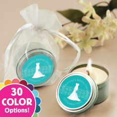 Custom Wedding Dress - Personalized Candle Tin Bridal Shower Favors