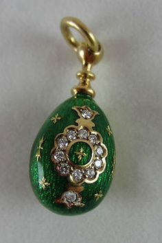 Faberge 18K Yellow Gold Diamond Green Enamel Egg Charm Pendant | eBay..