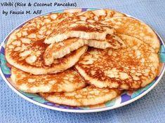 Vibibi (Rice and Coconut Pancakes) - Fauzia's Kitchen Fun Rice Pancakes, Coconut Pancakes, Crepes And Waffles, Tasty Pancakes, Baked Pancakes, Fluffy Pancakes, Kenya Food, Tanzania Food, Ugandan Food