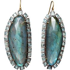 Nak Armstrong Aquamarine & Labradorite Slice Earrings at Barneys.com