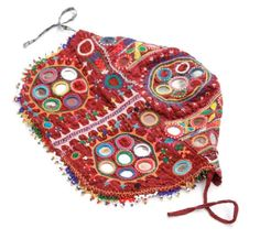 BANJARA MIRROR TRIBAL ETHNIC KUCHI BELLY DANCE OLD INDIAN COIN CAP HEAD GEAR  -  $35.04