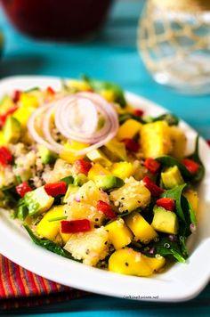 Avocado Mango & Pineapple Quinoa Salad  #quinoa #glutenfree #vegan