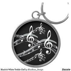 Black & White Treble Clef Keychain Treble Clef, Custom Buttons, Key Chains, Christmas Card Holders, Keep It Cleaner, Colorful Backgrounds, Cool Designs, Black And White, Accessories