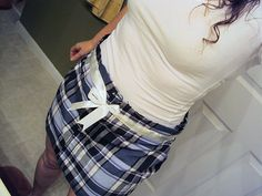 How to Make a Pretty Plaid Skirt from a Man's Shirt