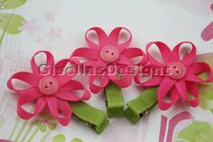 Flower Ribbon sculpture bow / ribbon flower bow/ Customize your own flower/ many colors to choose from.. $6.95, via Etsy.