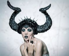 Post Apocalyptic doesn't just have to be zombies or punks. It can be all kinds of mutant creatures or any hell of your own making. Here from Miss G Designs a custom headpiece, but we have lots of horns that could be painted black.