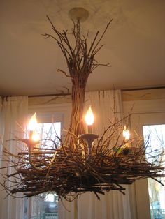 Create a whimsical twig chandelier