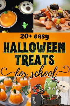 This giant list of super-easy Halloween treats for school parties takes the scar Halloween Candy Bar, Halloween Treats To Make, Halloween Treat Bags, Halloween Desserts, Halloween Fun, Halloween Parties, Halloween Baking, Halloween Celebration, Halloween Decorations