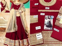 Indian Embroidered Chiffon Maxi Dress with Net Dupatta For more details and real pictures visit: PakStyle. Latest Bridal Dresses, Bridal Dresses Online, Red Wedding Dresses, Wedding Dress Chiffon, Chiffon Maxi Dress, Pakistani Maxi Dresses, Luxury Clothing Brands, Net Dresses, Ladies Dresses