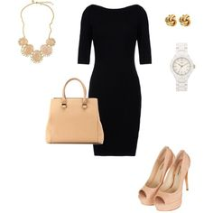 Simple black dress with some simple nude heels are great together. Business Dresses, Business Outfits, Business Fashion, Business Clothes, Business Attire, Love Fashion, Autumn Fashion, Fashion Outfits, Womens Fashion