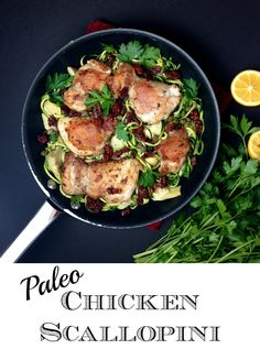 Yum! This Paleo Chicken Scallopini (chicken, bacon, sundried tomatoes, capers, parsley and zoodles) is clean eating with rich flavors. // GrokGrub.com