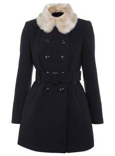 Miss Selfridge Petites Navy Faux Fur Collar Coat, £85