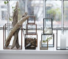 Set of Three Glass & Iron Storage Boxes   House Doctor