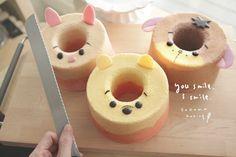 Sweet Cakes, Cute Cakes, Cute Desserts, Dessert Recipes, Kawaii Dessert, Cute Donuts, Egg Cake, Angel Cake, Cake Photography